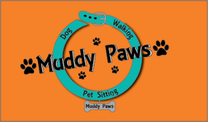 Muddy Paws professional dog walking and pet sitting services logo
